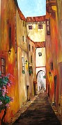 Italian Landscapes Posters - Little Italy Poster by Doris Cohen