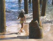 Pier Pastels - Little Jessica and Her Hat Malibu Pier  by Randy Sprout