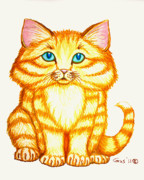 Cute Kitten Drawings Prints - Little Kitten Print by Nick Gustafson