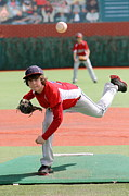 League Metal Prints - Little League Pitcher Metal Print by Lisa Billingsley