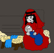 Manger Posters - Little Mary and Baby Jesus in Red and Blue Poster by Sonya Chalmers