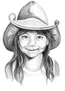 Cowboy Pencil Drawing Framed Prints - Little Maya Framed Print by Murphy Elliott