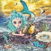 Sea Birds Mixed Media Posters - Little Mermaid Poster by Mo T