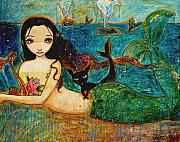 Oil Mixed Media Originals - Little Mermaid by Shijun Munns