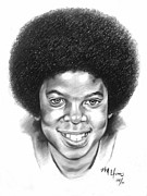 Jackson Five Drawings Framed Prints - Little Michael Framed Print by Michael Harris