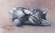 Felines Paintings - Little Mischief by Cynthia House