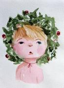 Christ Child Prints - Little Miss Merry Print by Mindy Newman