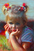 Toddler Portrait Paintings - Little Miss Sunshine by Talya Johnson