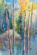 Beaver Painting Prints - Little Mountain Beaver Pond 03 Print by Sukey Jacobsen