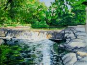 Park Scene Painting Originals - Little Niagra Falls on Travertine Creek Chickasaw National Recreation Area Sulphur Oklahoma by Wes Loper