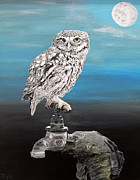 Ellenisworkshop Painting Metal Prints - Little Owl on Tap Metal Print by Eric Kempson