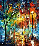 Building Painting Originals - Little Park by Leonid Afremov