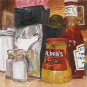 Ketchup Paintings - Little Petes Diner by Ann Caudle