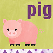 Purple Art Posters - Little Pig Poster by Linda Woods