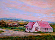 Old Country Roads Prints - Little Pink Houses Print by Carole Spandau