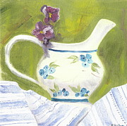 Pottery Pitcher Painting Prints - Little pitcher with pansies Print by Kathryn B