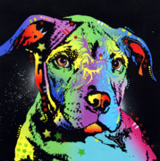 Dean Russo Art Mixed Media Prints - Little Pittie Warrior Print by Dean Russo