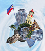 Flag Framed Prints Posters - Little Planet - Manila Poster by Yhun Suarez