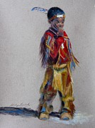 Wow Pastels Posters - Little Pow Wow Dancer 1 Poster by Shirley Leswick