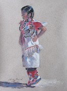 Wow Pastels Posters - Little Pow Wow Dancer 2 Poster by Shirley Leswick