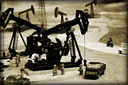 Pumpjack Posters - Little Pumpjacks Poster by Ricky Barnard