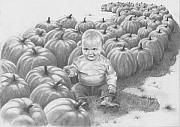 Child Drawings Prints - Little Pumpkin Print by Murphy Elliott