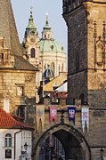 Prague Towers Photos - Little Quarter Towers and St Josephs Church by Jeremy Woodhouse