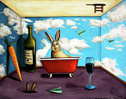 Magritte Framed Prints - Little Rabbit Spirits Framed Print by Leah Saulnier The Painting Maniac