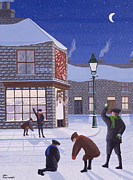 Snowfall Paintings - Little Rascals by Peter Szumowski