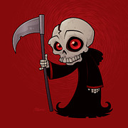 Cartoon Posters - Little Reaper Poster by John Schwegel