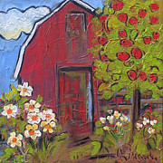 Modern Impressionist Posters - Little Red Barn Poster by Blenda Tyvoll