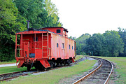 Caboose Digital Art Posters - Little Red Caboose enhanced Poster by Suzanne Gaff