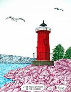 Red Buildings Drawings Framed Prints - Little Red Lighthouse on Hudson Framed Print by Frederic Kohli