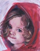Hood Drawings Metal Prints - Little Red Riding Hood Metal Print by Carmen Tyrrell