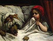 Interior Painting Prints - Little Red Riding Hood Print by Gustave Dore