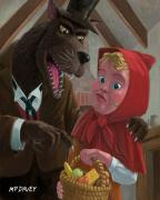 Nursery Rhyme Posters - Little Red Riding Hood With Nasty Wolf Poster by Martin Davey