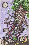 Bicycle Drawings - Little Red Riding Wood by Jeremiah Strickland