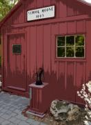 Red School House Digital Art Prints - Little Red Schoolhouse Print by Allan  Hughes