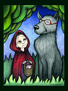 Wearing Glasses Posters - Little Reds Wolf Poster by Jennifer Latham Robinson