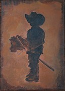 Boy Painting Originals - Little Rider by Leslie Allen