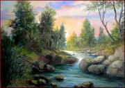Het Paintings - Little river by Milluz