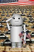 Memorial Day Digital Art - Little Robo-x9 says Tanks Alot by Gravityx Designs