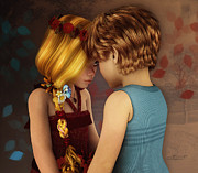Hand In Hair Posters - Little Romance Poster by Jutta Maria Pusl