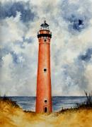 Lighthouse Drawings Framed Prints - Little Sable Point Lighthouse Framed Print by Michael Vigliotti