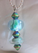 Ball Jewelry - Little Saturn and Blue Rainbow Earrings by Janet  Telander