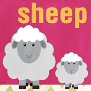 Animals Mixed Media Posters - Little Sheep Poster by Linda Woods