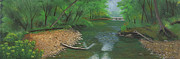 Bridge Pastels Prints - Little Shoal Creek Print by Garry McMichael