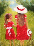 Sisters Paintings - Little Sisters by Joni McPherson
