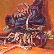Hockey Painting Prints - Little Skates Big Dreams Print by Sue Dragoo Lembo