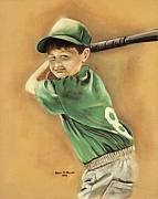 Baseball Bat Pastels Framed Prints - Little Slugger Framed Print by Robin Martin Parrish
